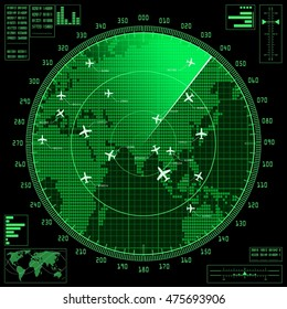 Green radar screen with planes and dotted world map. Vector illustration.