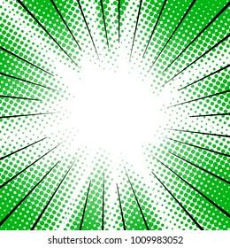 green radial motion lines halftone for manga superhero
