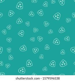 Green Radioactive in shield icon isolated seamless pattern on green background. Radioactive toxic symbol. Radiation Hazard sign.  Vector Illustration
