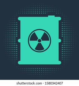 Green Radioactive waste in barrel icon isolated on blue background. Toxic refuse keg. Radioactive garbage emissions, environmental pollution. Abstract circle random dots. Vector Illustration