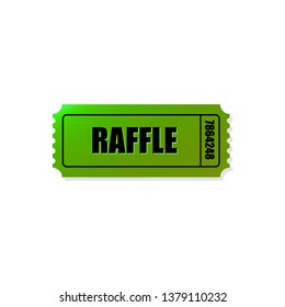 Green raffle ticket icon. Use it to advertise games, raffles and lottery. - Vector