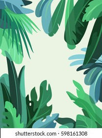 Green rainforest. Jungle background with copy space for text. Frame made of tropical plants and leaves. Flat style vector illustration.