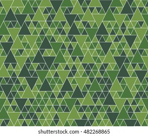 Green random triangles seamless pattern