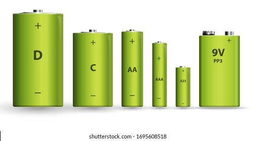 Green realistic alkaline battery set