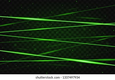 Green realistic laser beam background. Laser rays iolated on transparent background. Modern style abstract. Bright shiny lasers pattern. Vector illustration