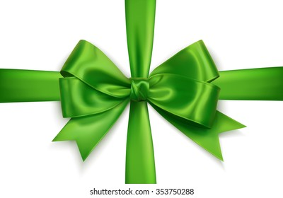 green realistic vector double cross gift bow