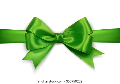 green realistic vector double gift bow