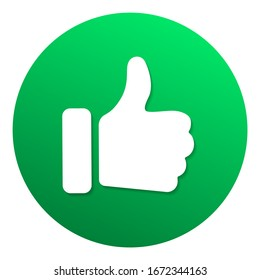 Green recommended label with thumb up. Web button for online shop. Circle vector banner social media like or recommended with man hand thumbs up. Good choice recommendation icon label best seller sign