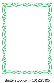 A green rectangular Celtic frame.