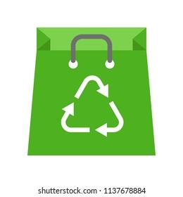 Green Recycle bag, Flat icon save environmental concept