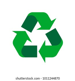 green recycle icon on white background