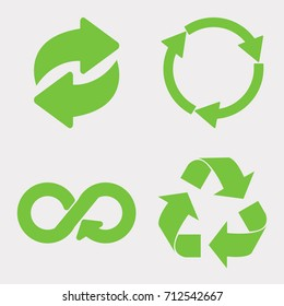 Green recycle icon set. Eco cycle arrows - vector