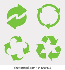 Green recycle icon set vector