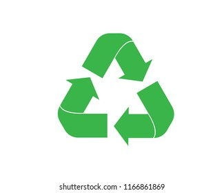 Green recycle icon vector. Flat icon isolated on the white background. Vector illustration.