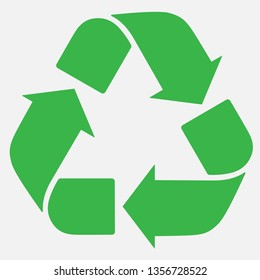Green recycle sign. Ecological safe waste disposal. Vector illustration.