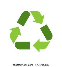 Green recycle sign. Green logo ecological concept vector illustration isolated on white background.