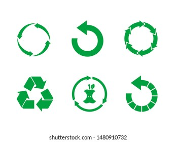 Green recycle sign set on white background. Reuse,renew, compost food waste, concept.Recycle symbol vector set. Collection of 6 different recycling icons.  Vector illustration, flat style, clip art.