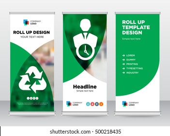 Green Recycle Time management Person Human icon Modern Exhibition Trend Business Abstract Rollup Banner Stand brochure flat design template creative shapes. Cover presentation.Publication. Vector. EPS