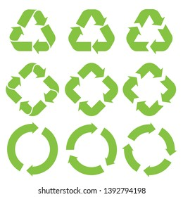 Green recycle in triangle, rectangle, circle shape. Recycling set symbol vector. Eco green recycled symbol set vector illustration isolated on white background.