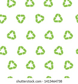 Green recycle triangle seamless pattern. Recycle Recycling pattern symbol vector. World Environment Day poster. Eco green recycled symbol pattern vector illustration isolated on white background.