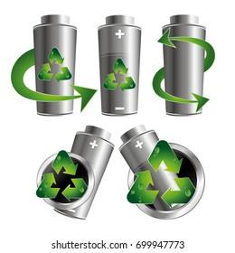 Green recycling batteries set vector design