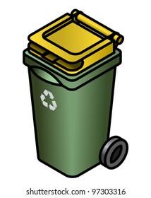 A green recycling bin.