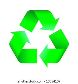 Green recycling logo. Vector illustration