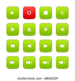 Green and red 16 media control web 2.0 buttons. Rounded square shapes with shadow on white