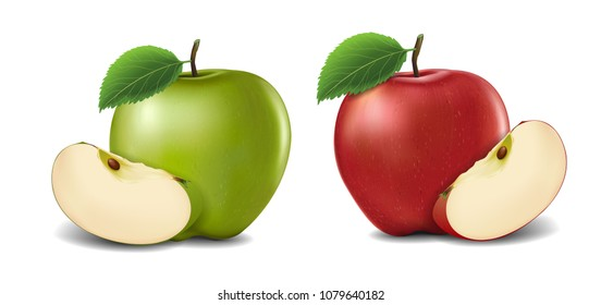 Green and Red Apples with Green Leaves and Apple Slice - Vector Illustration. Realistic vector