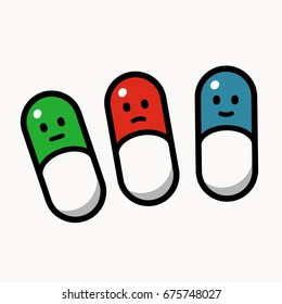 Green, red and blue pills smiling, different emotion, cartoon style vector illustration on white background