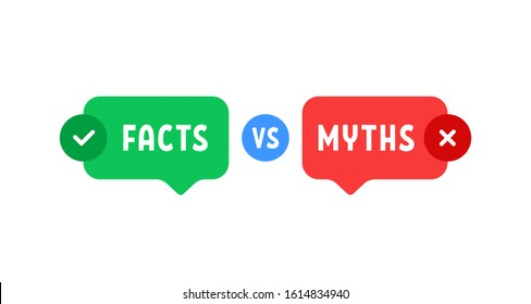 green and red bubbles with myths vs facts. concept of thorough fact-checking or easy compare evidence. flat cartoon style trend modern logotype graphic art design isolated on white background