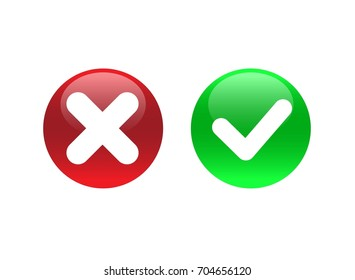 Green and red button. Circle shape symbols YES and NO button for vote, decision, web. Vector. Eps 10.