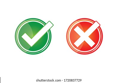 Green and red color Icon for right and wrong