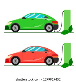 A green and red electric car charging at the charger station. Electromobility e-motion concept.Flat vector illustration. Set