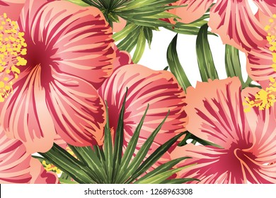 Green red exotic pattern. Monstera leaves and hibiscus flowers in summer print.  Saturated large floral swimwear print. Horizontal romantic wild vector exotic tile. Bonny spring botanical design.
