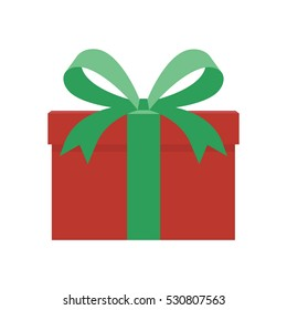 Green and red gift wrapped present in flat style vector illustration