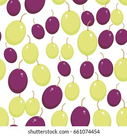Green and red grapes seamless pattern Fresh juicy berries isolated on white background. Vector illustration