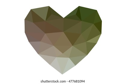Green, red heart isolated on white background. Geometric rumpled triangular low poly origami style gradient graphic illustration. Vector polygonal design for your business.