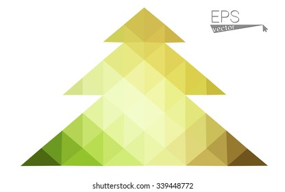 Green, red low polygon style christmas tree vector illustration consisting of triangles. Abstract polygonal origami or crystal design of New Years celebration. Isolated on white background.