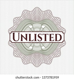 Green and Red money style emblem or rosette with text Unlisted inside