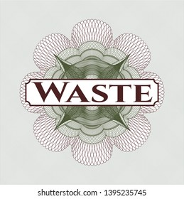 Green and Red money style emblem or rosette with text Waste inside