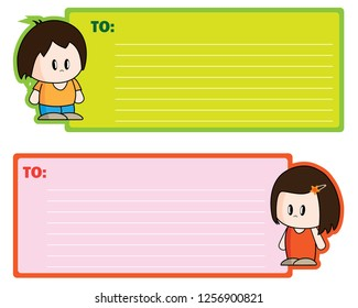 Green and Red notecard with Boy or Girl cartoon