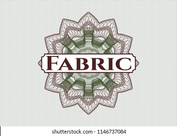 Green and Red rosette. Linear Illustration with text Fabric inside