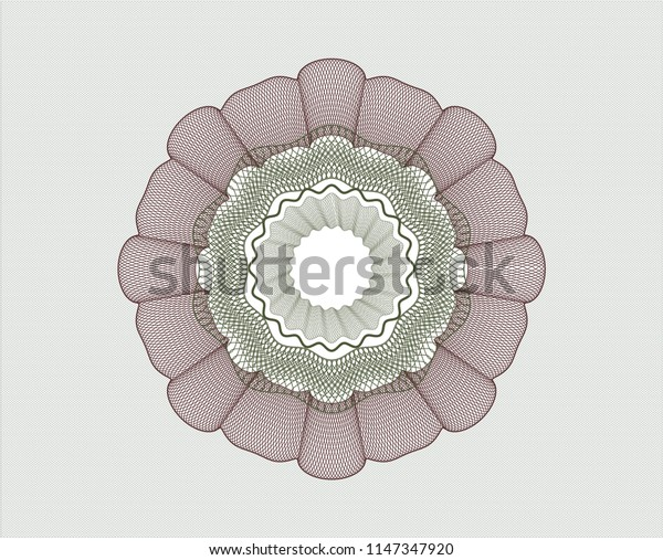 Green and Red rosette. Linear Illustration.