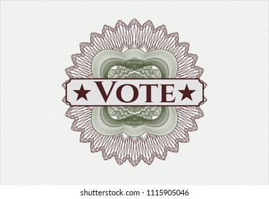 Green and Red rosette (money style emblem) with text Vote inside