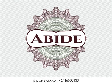 Green and Red rosette or money style emblem with text Abide inside