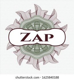 Green and Red rosette (money style emblem) with text Zap inside