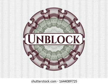 Green and Red rosette (money style emblem) with text Unblock inside