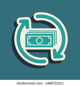 Green Refund money icon isolated on blue background. Financial services, cash back concept, money refund, return on investment, savings account. Long shadow style. Vector Illustration