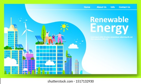 Green renewable energy concept with people or family parent kid. Boy girl are happy life on earth with clean energy from solar panels and wind generators, walking, playing, cycling in city. - Vector